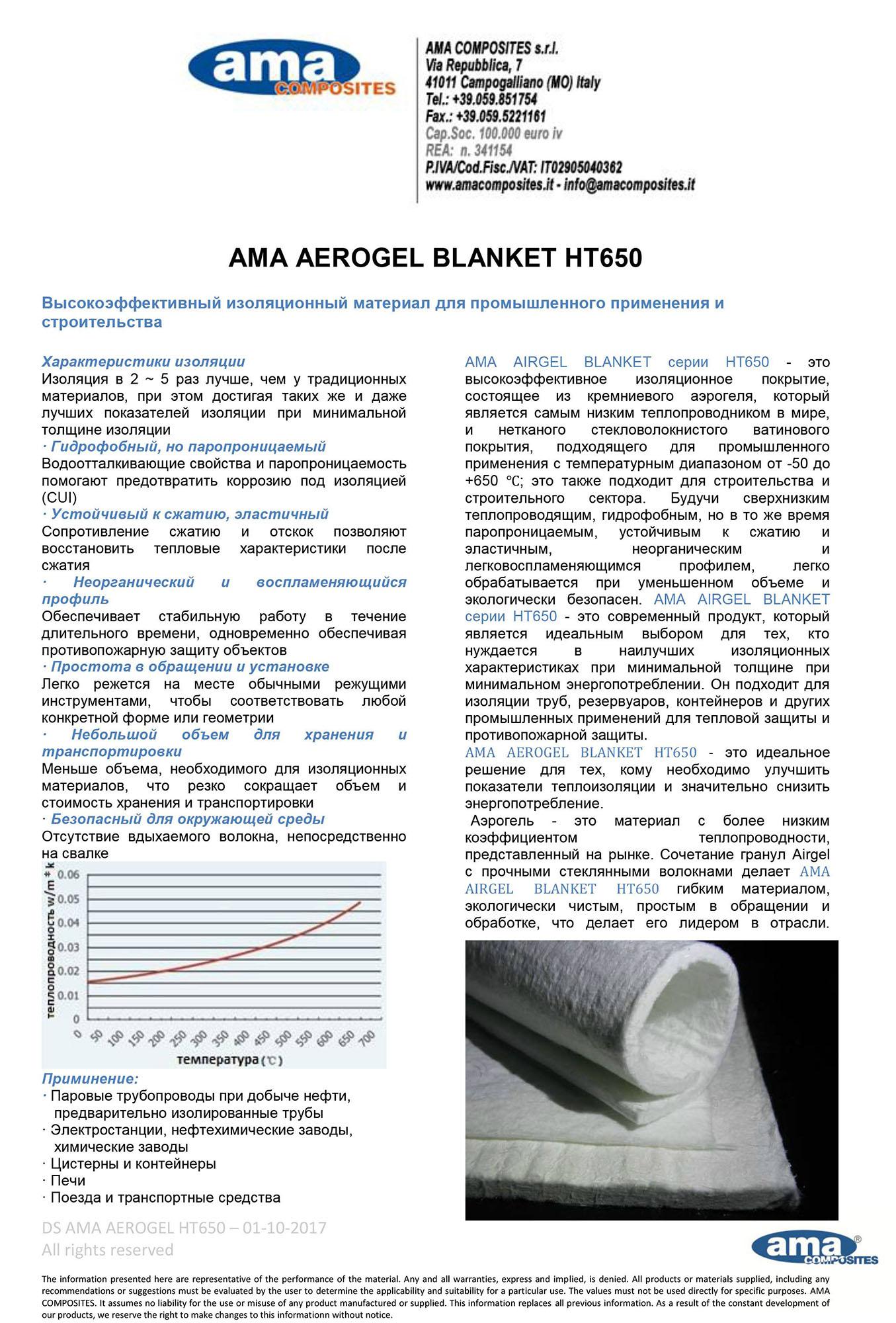 AMA AEROGEL BLANKET HT650 RU